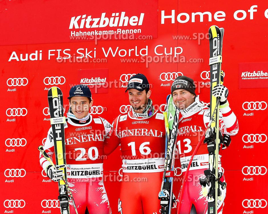 23.01.2015, Streif, Kitzbuehel, AUT, FIS Ski Weltcup, Supercombi Super G, Herren, Siegerpräsentation, im Bild v.l. Matthias Mayer (AUT, 2. Platz), Dominik Paris (ITA, 1. Platz) und Georg Streitberger (AUT, 3.Platz) // 2nd placed Matthias Mayer of Austria ( L ) , Winner Dominik Paris of Italy ( C ) and 3rd placed Georg Streitberger of Austria ( R ) celebrates on podium during the award ceremony for the men's Super-G of Kitzbuehel FIS Ski Alpine World Cup at the Streif Course in Kitzbuehel, Austria on 2015/01/23. EXPA Pictures © 2015, PhotoCredit: EXPA/ SM