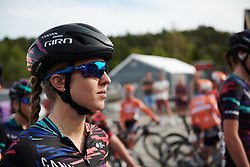 Alexis Ryan (USA) waits to sign on at Ladies Tour of Norway 2018 Stage 3. A 154 km road race from Svinesund to Halden, Norway on August 19, 2018. Photo by Sean Robinson/velofocus.com
