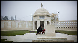 Baroness Sayeeda Warsi lays a wreath at the Neuve-Chapelle Indian Memorial, France. The Memorial is the primary Point of commemoration for all troops of the Indian army who were killed on the Western front and have no known graves . Sayeeda is visiting the graves of Commonwealth soldiers on the battlefields of France and Belgium as part of the UK Government's programme to commemorate the centenary of the First World War which starts next year, Wednesday  April 10, 2013. Photo By Andrew Parsons / i-Images