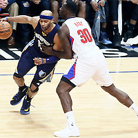 04 January 2017: LA Clippers forward Brandon Bass (30) defends on Memphis Grizzlies guard Vince Carter (15) during the LA Clippers 115-106 victory over the Memphis Grizzlies, at the Staples Center, Los Angeles, California, USA.