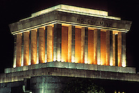 "A nightime shot of ""Uncle Ho's"" Mausoleum in Hanoi."