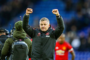 Manchester United interim Manager Ole Gunnar Solskjaer celebrates at full time during the Premier League match between Leicester City and Manchester United at the King Power Stadium, Leicester, England on 3 February 2019.