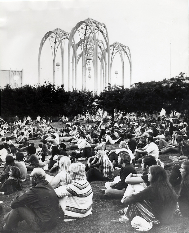 The first day of the festival that was to become Bumbershoot at Seattle Center. (Ron De Rosa/The Seattle Times, 1972)