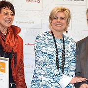 NLD/Amsterdam/20160121 - Uitreiking Taalhelden prijzen 2016 door Prinses Laurentien, vlnr. Lianne Knobel, Prinses Laurentien, Hank Gronheid, Rob Weijers