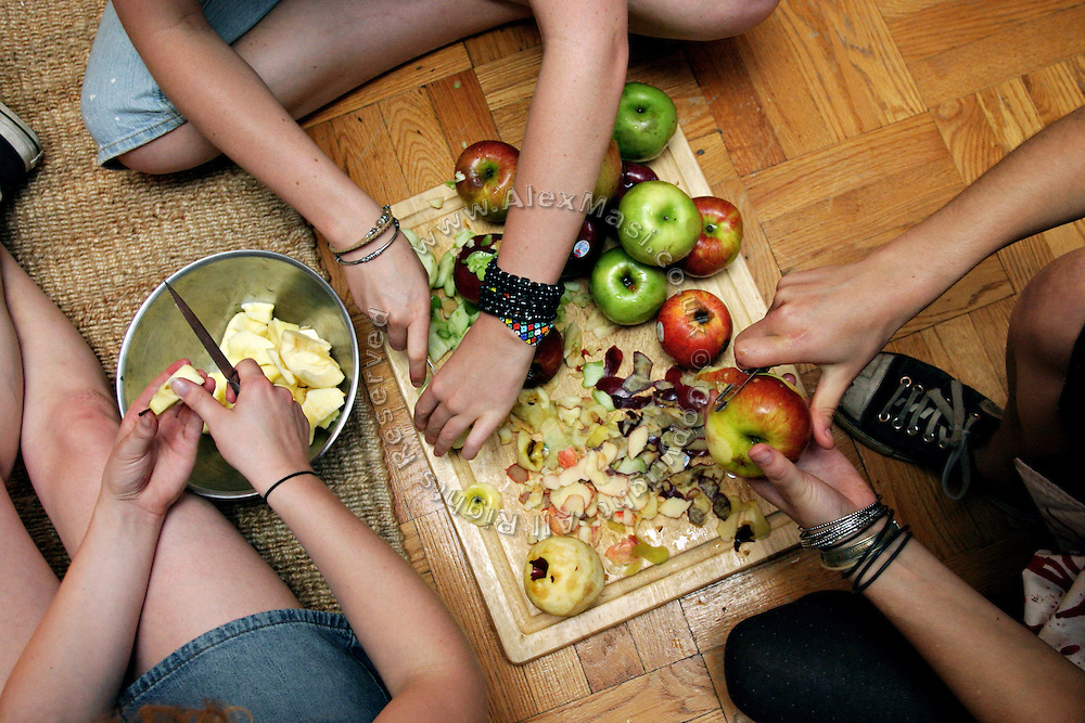 Members of the Freegan community in New York cutting apples at a dinner cooked entirely with food recovered from dumping sites around the island of Manhattan, New York, NY., on Friday, July 7, 2006. Freegans are a community of people who aims at recovering wasted food, books, clothing, office supplies and other items from the refuse of retail stores, frequently discarded in brand new condition. They recover goods not for profit, but to serve their own immediate needs and to share freely with others. According to a study by a USDA-commissioned study by Dr. Timothy Jones at the University of Arizona, half of all food in the United States is wasted at a cost of $100 billion dollars every year. Yet 4.4 million people in the United States alone are classified by the USDA as hungry. Global estimates place the annual rate of starvation deaths at well over 8 million. The massive waste generated in the process fills landfills and consumes land as new landfills are built. This waste stream also pollutes the environment, damages public health as landfills chemicals leak into the ground, and incinerators spew heavy metals back into the atmosphere. Freegans practice strategies for everyday living based on sharing resources, minimizing the detrimental impact of our consumption, and reducing and recovering waste and independence from the profit-driven economy. They are dismayed by the social and ecological costs of an economic model where only profit is valued, at the expense of the environment. In a society that worships competition and self-interest, Freegans advocate living ethical, free, and happy lives centred around community and the notion that a healthy society must function on interdependence. Freegans also believe that people have a right and responsibility to take back control of their time.