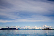 Chugach Mountains and Blue Sky from Boat in Prince william Sound, Alaska