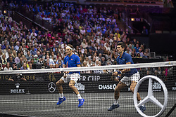 September 21, 2018 - Chicago, Illinois, U.S - Team Europe member ROGER FEDERER of Switzerland and partner NOVAK DJOKOVIC of Serbia play at the net during the first doubles match on Day One of the Laver Cup at the United Center in Chicago, Illinois. (Credit Image: © Shelley Lipton/ZUMA Wire)