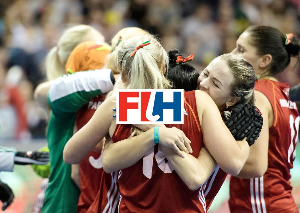 BERLIN - Indoor Hockey World Cup<br /> Bronze: Ukraine - Belarus<br /> foto: Belarus wins the third place <br /> WORLDSPORTPICS COPYRIGHT FRANK UIJLENBROEK