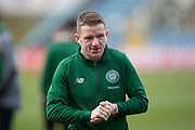 17th March 2019, Dens Park, Dundee, Scotland; Ladbrokes Premiership football, Dundee versus Celtic; Jonathan Hayes of Celtic inspects the pitch before the match