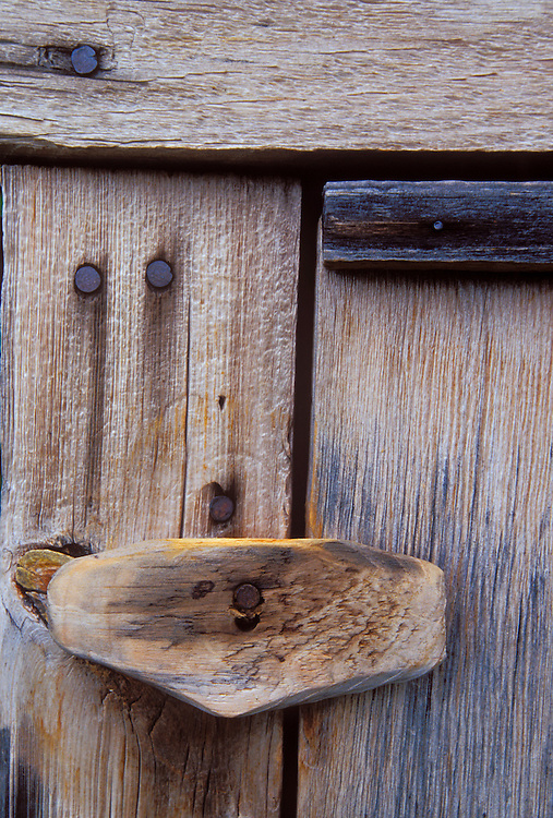 Detail of a door lock on a historic building at the Manitou Island fish camp in Apostle Islands National Lakeshore near Bayfield, Wis.