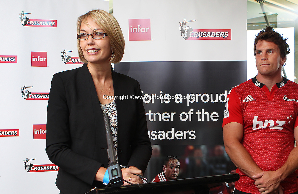 Jo-Anne Ruhl, Managing Director of infer addressing the media conference at a Crusaders back Sponsor announcement of infor and Crusaders captains run training session held at AMI Stadium, Christchurch. 12 February 2015 Photo: Joseph Johnson / www.photosport.co.nz