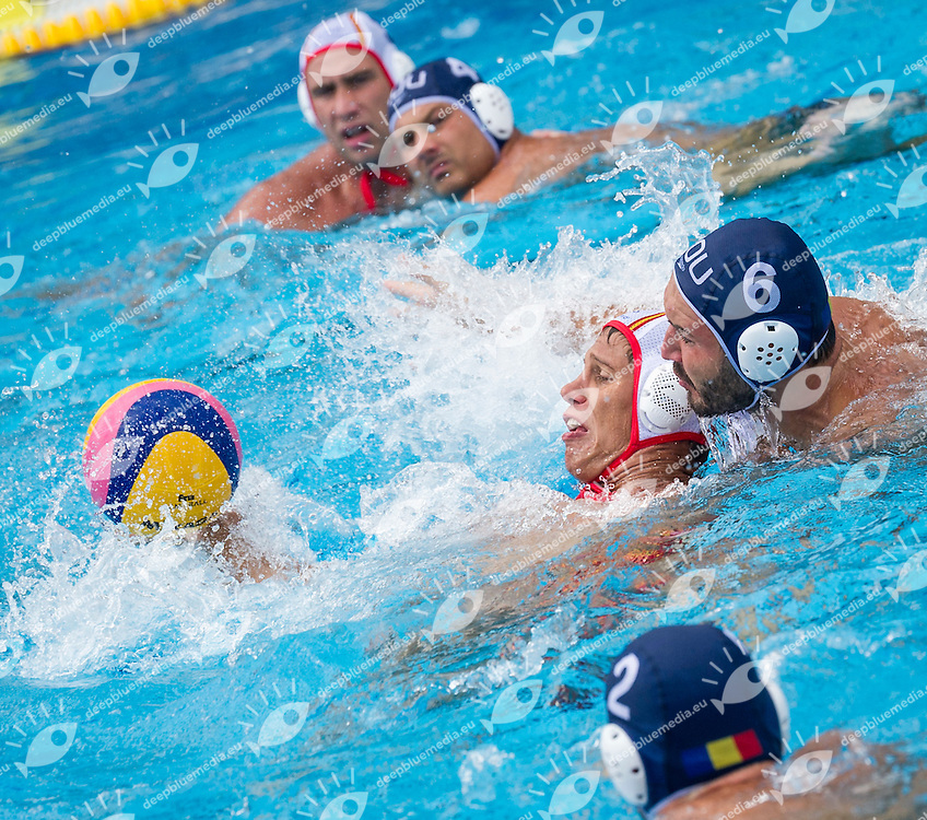 7  SZIRANYI B.  ESP<br /> 6 BUSILA Dan Andrei ROU<br /> Spain (White) Vs Romania (Blue) Men<br /> LEN European Water Polo Championships 2014 - July 14-27<br /> Alfred Hajos -Tamas Szechy Swimming Complex<br /> Margitsziget - Margaret Island<br /> Day13 - July 26<br /> Photo Giorgio Scala/Inside/Deepbluemedia