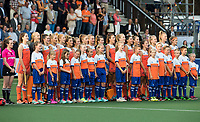 AMSTELVEEN -  line up Oranje bij Nederland-Tsjechie (dames) bij de Rabo EuroHockey Championships 2017.  COPYRIGHT KOEN SUYK