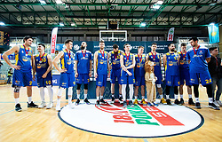 Players of Hopsi Polzela look dejected after losing during basketball match between KK Sixt Primorska and KK Hopsi Polzela in final of Spar Cup 2018/19, on February 17, 2019 in Arena Bonifika, Koper / Capodistria, Slovenia. KK Sixt Primorska became Slovenian Cup Champion 2019. Photo by Vid Ponikvar / Sportida