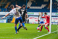 Tom Pope of Bury heads across goal for Nathan Cameron to net the third goal of the game during the FA Cup match at Gigg Lane, Bury<br /> Picture by Matt Wilkinson/Focus Images Ltd 07814 960751<br /> 07/11/2015