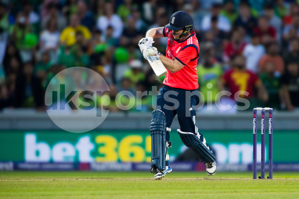 Eoin Morgan of England connects with the ball during the NatWest International T20 match between England and Pakistan at Emirates Old Trafford, Manchester, England on 7 September 2016. Photo by Brandon Griffiths.