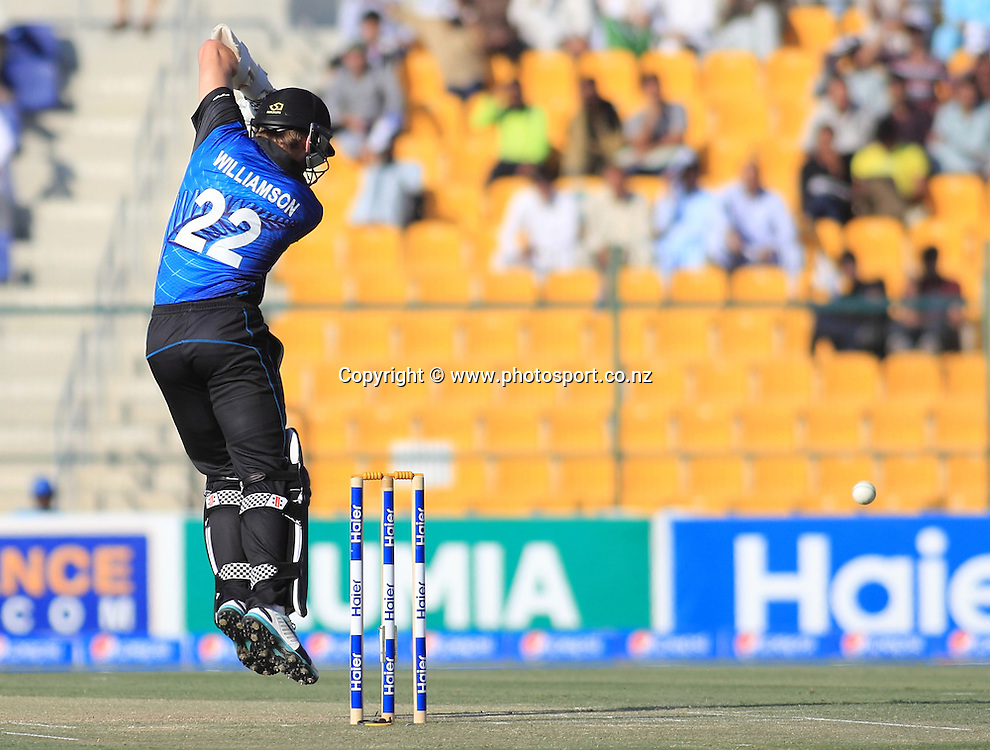Pakistan vs New Zealand, 19th December 2014. Kane Williamson plays a shot in the 5th ODI in Abu Dhabi