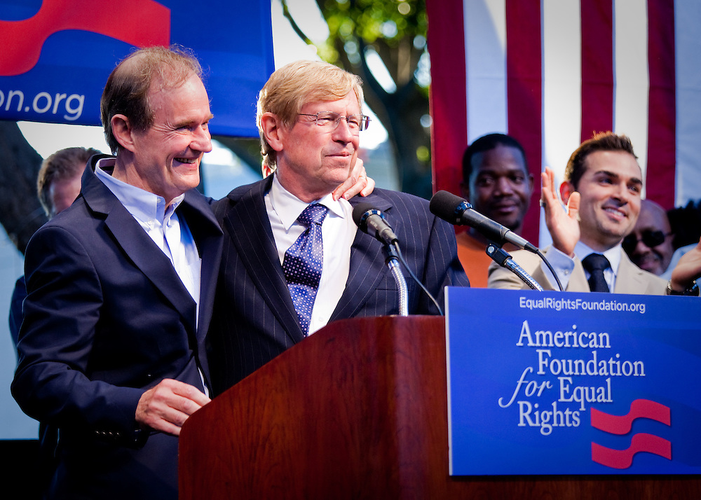 L-R. David Boies and Ted Olson, lawyers of the plaintiffs in support of Gay Marriage, embrace one another at a rally after Proposition 8 was overturned by Judge Walker.