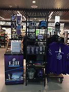 General overall view of Super Bowl LII merchandise at the Minneapolis-St. Paul International Airport (MSP) in Minneapolis, Monday, Jan 15, 2018. Super Bowl LII will be the 52nd Super Bowl and the 48th modern-era National Football League championship game. It will decide the league champion for the 2017 NFL season. The game will be played on Sunday, Feb. 4, 2018 at U.S. Bank Stadium in Minneapolis. It is the second Super Bowl in Minneapolis, which previously hosted Super Bowl XXVI in 1992. It will be the sixth Super Bowl in a cold weather city.