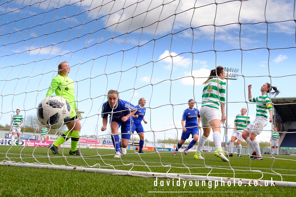 Forfar Farmington captain Nicola Irenside scores an equaliser just before hafl time - Celtic v Forfar Farmington in the SWPL Cup semi final at Falkirk, Falkirk Stadium,<br /> <br />  - &copy; David Young - www.davidyoungphoto.co.uk - email: davidyoungphoto@gmail.com
