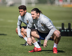 March 30, 2018 - Carson, California, U.S - Zlatan Ibrahimovic #9 of the LA Galaxy with Jonathan dos Santos #8 during his first practice on Friday March 30, 2018 at the StubHub Center in Carson, California. (Credit Image: © Prensa Internacional via ZUMA Wire)