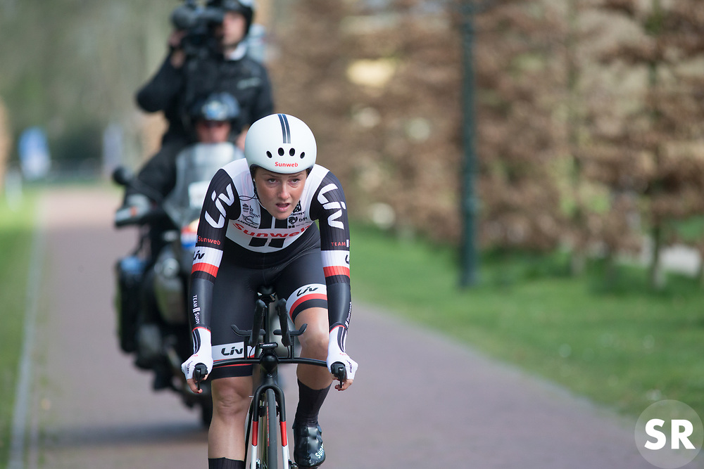 Floortje Mackaaij (NED) of Team Sunweb prepares for fast and sharp corner during Stage 1a of the Healthy Ageing Tour - a 16.9 km time trial, starting and finishing in Leek on April 5, 2017, in Groeningen, Netherlands.