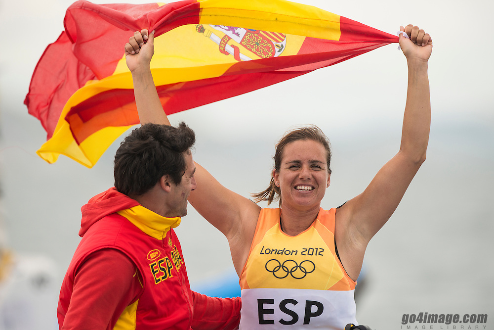2012 Olympic Games London / Weymouth<br /> RSX Medal Race<br /> Alabau Marina, (ESP, RS:X Women)