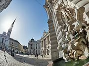 Vienna, Austria. Vienna seen through a fisheye lens. Michaelerplatz.