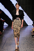 Katlin Aas walks the runway wearing Donna Karan Spring 2015 Collection during Mercedes-Benz Fashion Week in New York, on September 8th, 2014