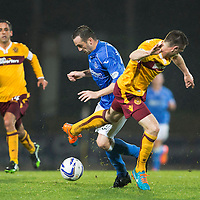 St Johnstone v Motherwell....31.10.14   SPFL<br /> James McFadden is brought down by Steven McManus<br /> Picture by Graeme Hart.<br /> Copyright Perthshire Picture Agency<br /> Tel: 01738 623350  Mobile: 07990 594431