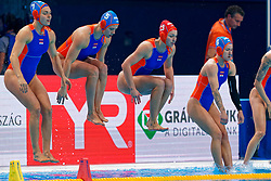Bente Rogge #7 of Netherlands, Iris Wolves #5 of Netherlands, Debby Willemsz #13 of Netherlands, Nomi Stomphorst #6 of Netherlands, Catharina Van Der Sloot #4 of Netherlands during the semi final Netherlands vs Russia on LEN European Aquatics Waterpolo January 23, 2020 in Duna Arena in Budapest, Hungary