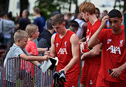 BOSTON, MASSACHUSETTS, USA - Monday, July 22, 2019: Liverpool's Ben Woodburn with supporters after a training session at Ohiri Field near Harvard Stadium on day seven of the club's pre-season tour of America. (Pic by David Rawcliffe/Propaganda)