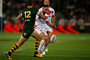 Luke Gale of England kicks the ball during the Rugby League World Cup match between Australia and England at Melbourne Rectangular Stadium, Melbourne, Australia on 27 October 2017. Photo by Mark  Witte.