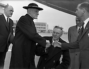 22/04/1959<br /> 04/22/1959<br /> 22 April 1959<br /> Cardinal Richard Cushing on Pilgrimage to Lourdes with 70 disabled children leaves Dublin Airport. Cardinal Cushing Bids farewell to Mr P. Lynch, (centre) Chairman of Aer Lingus; Mr. J.F. Dempsey, (right) Senior Manager, Aer Lingus; Mr. James Gorman, Secretary, Aer Lingus (2nd from right) and Mr Frank Aiken, (left) Minister for External affairs as he prepares to depart for Lourdes.