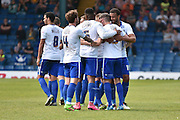 Bury Forward, Ryan Lowe mobbed by team mates after making it 1-1 during the Sky Bet League 1 match between Bury and Southend United at the JD Stadium, Bury, England on 8 May 2016. Photo by Mark Pollitt.