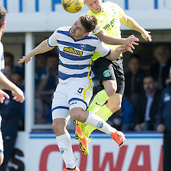 Dylan McGeouch (Hibernian) wins header over Ross Forbes (Morton FC)    during the Ladbrokes Championship match between Greenock Morton &amp; Hibernian at Cappielow Stadium on 8 April 2017<br /> <br /> Picture: Alan Rennie