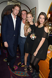 Left to right, the HON.FREDDIE HESKETH, MICHAEL WALKER, HUM FLEMING and ELIZA MONCRIEFFE at Tatler Magazine's Little Black Book Party held at Annabel's, Berkeley Square, London on 5th November 2013.