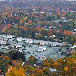 A subdivision in South Deerfield, Massachusetts as seen from South Sugarloaf Mountain in the Sugarloaf Mountain State Reservation in Deerfield, Massachusetts.