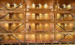 Interior view in atrium of large modern luxury hotel built of wood in ski resort of Åre  in Sweden