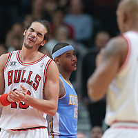 08 November 2010: Chicago Bulls' center #13 Joakim Noah reacts during the Chicago Bulls 94-92 victory over the Denver Nuggets at the United Center, in Chicago, Illinois, USA.