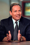 Journalist Bob Woodward discusses the Monica Lewinsky scandal during NBC's Meet the Press August 9, 1998 in Washington, DC.