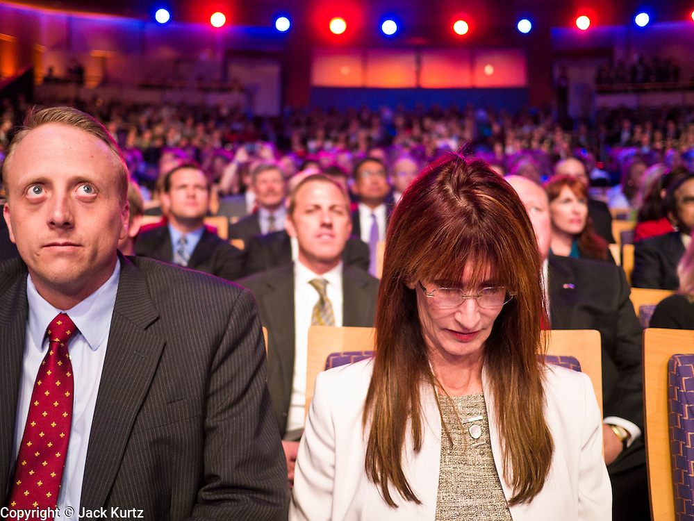 "22 FEBRUARY 2012 - MESA, AZ:      Spectators at the Arizona Republican Presidential Debate in the Mesa Arts Center in Mesa, AZ, Wednesday. It is the last debate before the Michigan and Arizona Republican primaries on Feb. 28 and ""Super Tuesday"" on March 6. Attendance was limited to highly placed members of the Arizona Republican party.       PHOTO BY JACK KURTZ"