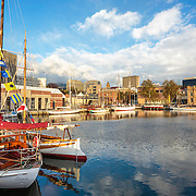 Constitution Dock and the Historic Boats display at daybreak, Tall Ships Festival 2013, Hobart, Tasmania, Australia