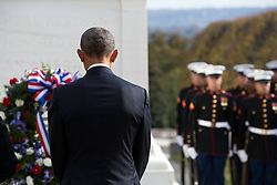 November 11, 2016 - Arlington, United States of America - U.S. President Barack Obama stands for a moment of silence after placing a wreath at the Tomb of the Unknown Soldier in Arlington National Cemetery November 11, 2016 in Arlington, Virginia. (Credit Image: © Pete Souza/Planet Pix via ZUMA Wire)