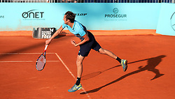 May 8, 2018 - Madrid, Spain - Daniel Medvedev of Russia  serves to Kyle Edmund of Great Britain the 2nd Round match during day four of the Mutua Madrid Open tennis tournament at the Caja Magica. (Credit Image: © Manu Reino/SOPA Images via ZUMA Wire)
