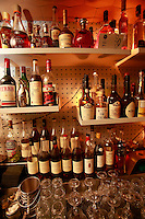 Cocktails at Le Syndicat, a new cocktail bar that serves drinks using only French products<br /> <br /> Paris 10th arrondissement<br /> <br /> The display of only French products used in the drinks<br /> <br /> <br /> <br /> April 23, 2015<br />   <br /> Photograph by Owen Franken for the NY Times