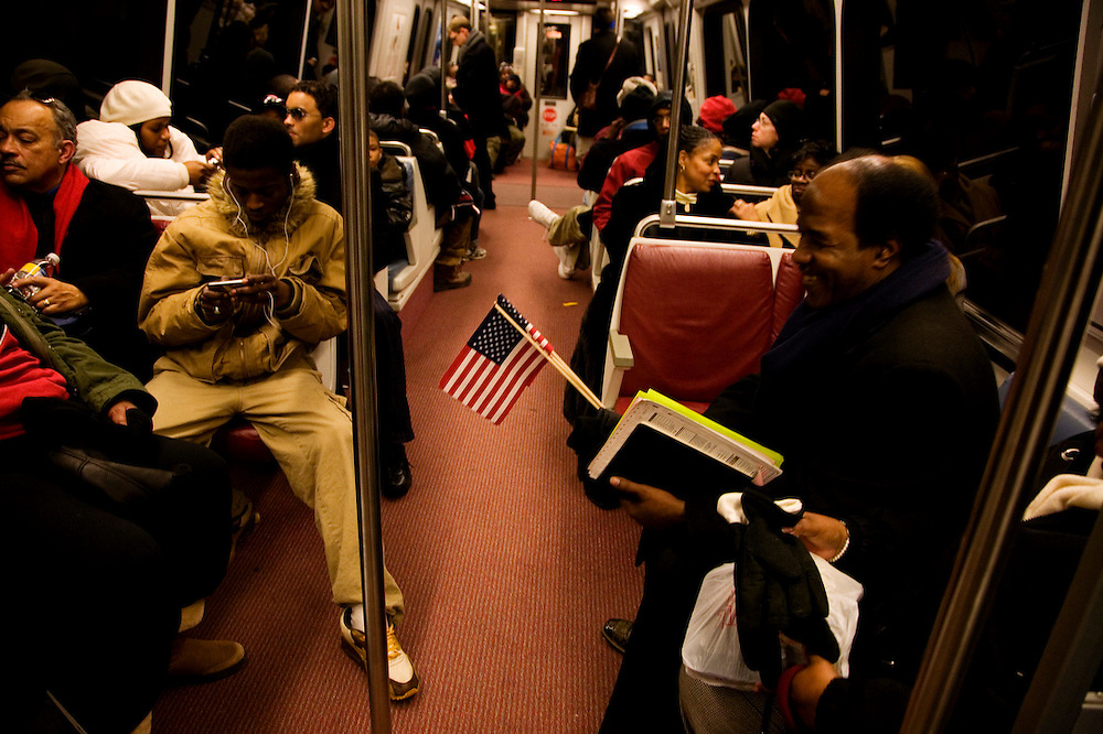 The Inauguration of President Barack Obama. Washington DC, January 20, 2009. American Flags on the DC Metro.