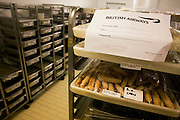 Stacks of prepared food is refrigerated and destined for airline in-flight meals by Gate Gourmet at Heathrow Airport. .