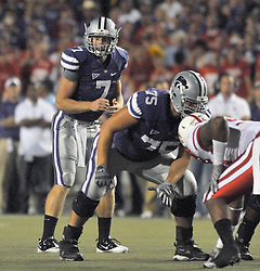 Oct 07, 2010; Manhattan, KS, USA;  Kansas State Wildcats quarterback Collin Klein (7) goes under center in the second half of the game against the Kansas State Wildcats at Bill Snyder Family Stadium. Nebraska won 48-13. Mandatory Credit: Denny Medley-US PRESSWIRE