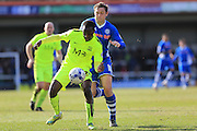 Glen Kamara , Grant Holt during the Sky Bet League 1 match between Rochdale and Southend United at Spotland, Rochdale, England on 25 March 2016. Photo by Daniel Youngs.